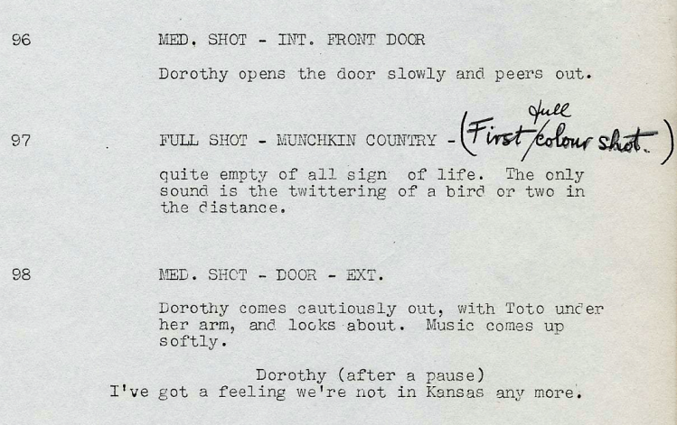 'Wizard of Oz' film script May 1938 - 'I've got a feeling we're not in Kansas any more.'