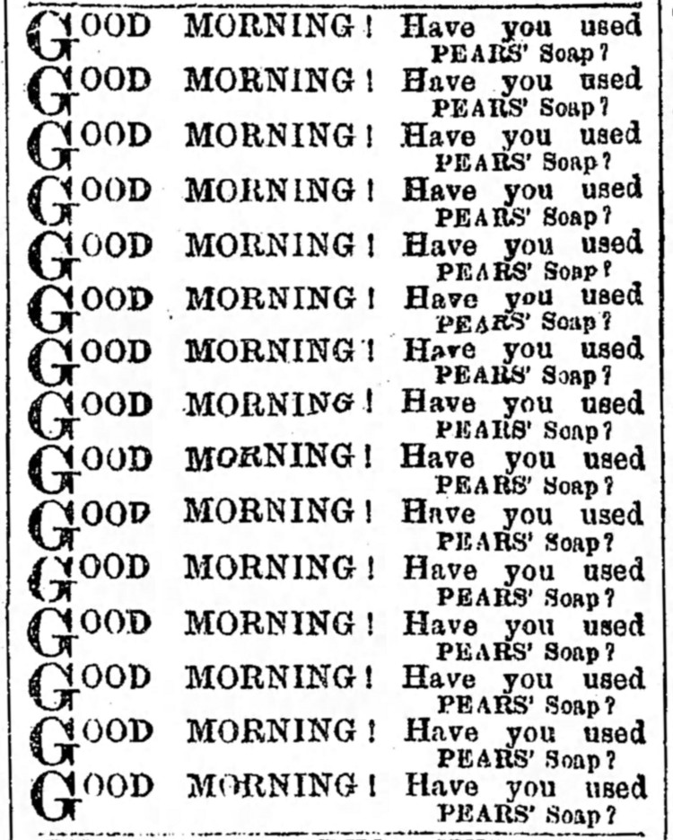 ad for Pears' Soap - Northern Echo (Darlington, Durham, England) - 6 August 1889
