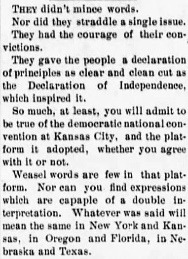 'weasel word' - The Kansas Populist (Independence, Kansas) - 13 July 1900
