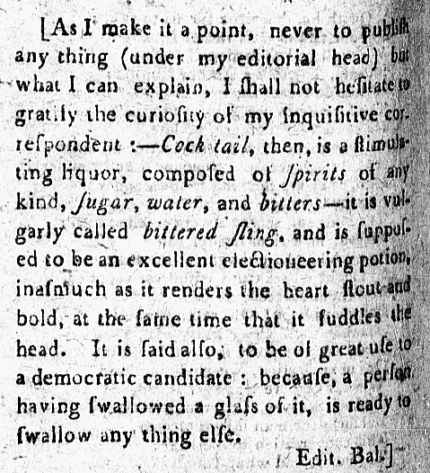 definition of 'cocktail' - The Balance, and Columbian Repository (Hudson, New York, USA) - 13 May 1806