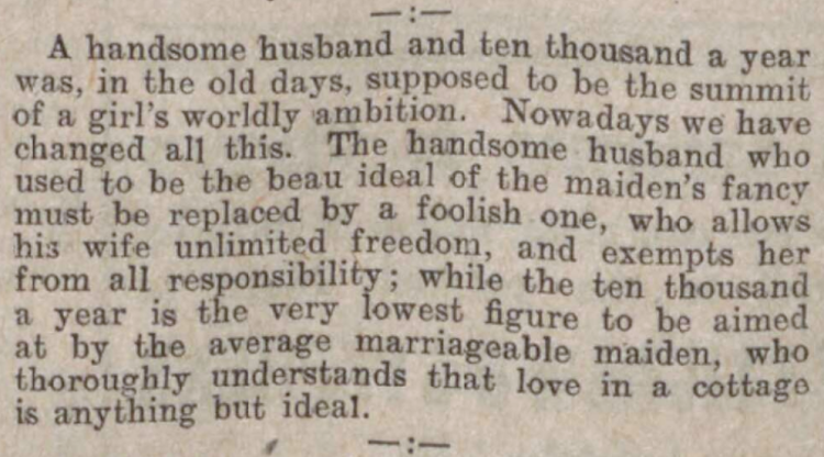 'a handsome husband and ten thousand a year' - The Motherwell Times (Motherwell, Lanarkshire, Scotland) - 17 May 1907