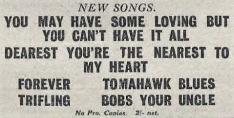 bob's your uncle' (song title) – The Stage (London) – 11 January 1923