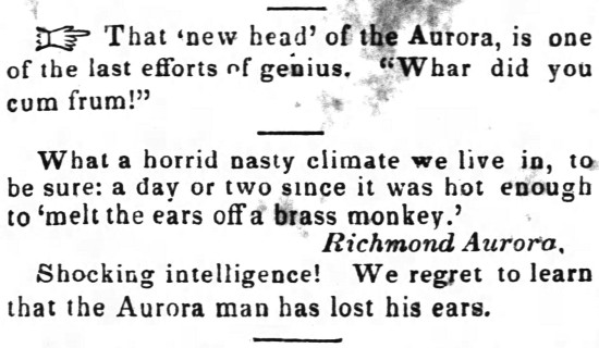 'brass monkey' - The Rasp (Raleigh, North Carolina) - 24 September 1842