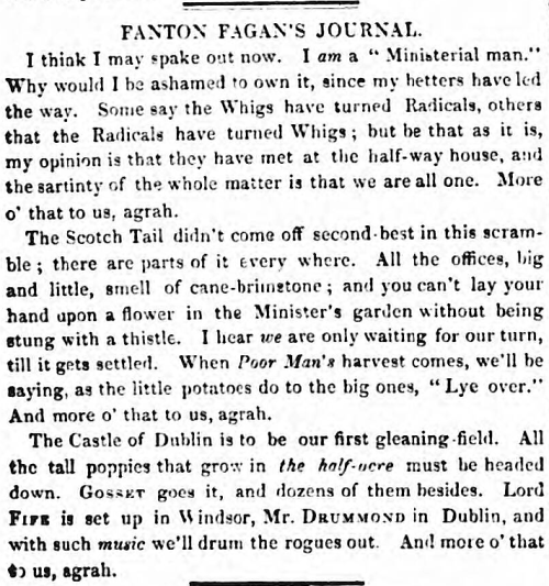 tall poppy' - Fanton Fagan's Journal - Evening Packet, and Correspondent (Dublin) - 2 May 1835