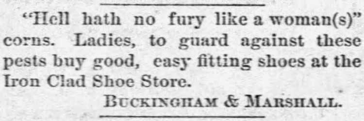 'hell hath no fury like a woman's corns' - The Concordia Republican (Concordia, Kansas) - 29 March 1883