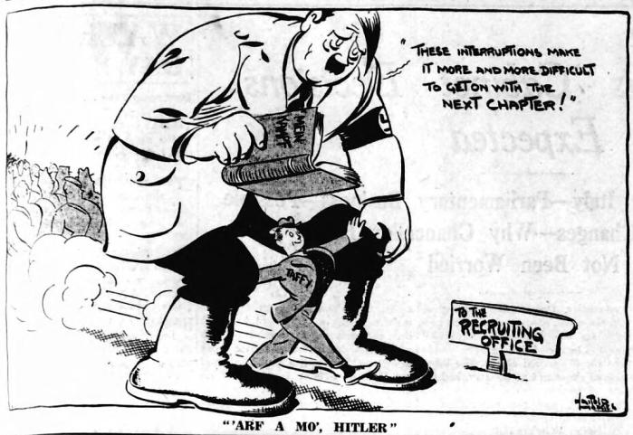 'arf a mo', Hitler - Western Mail (Cardiff, Glamorgan, Wales) - 18 April 1939
