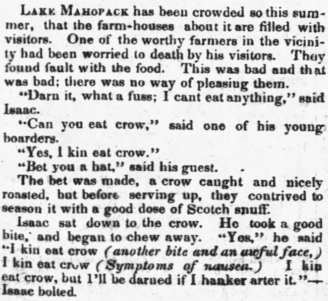 to eat crow - Buffalo Daily Courier (New York) - 18 September 1850