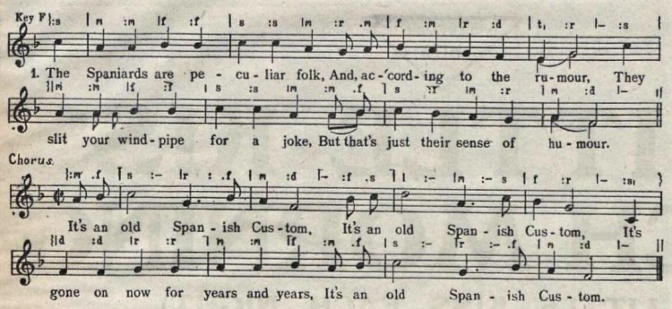 score and lyrics of 'It's an Old Spanish Custom' (Campbell and Connelly) - The Stage (London) - 30 January 1930