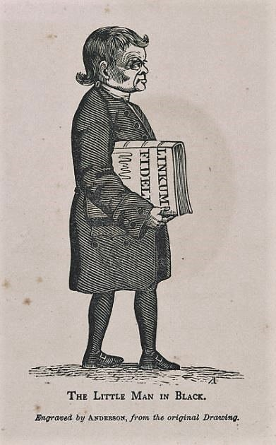 The little man in black, by Alexander Anderson - caricature of Aaron Burr