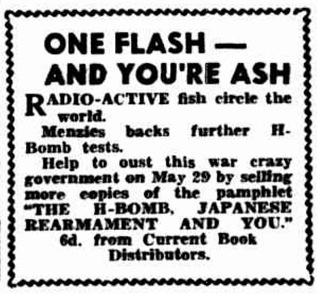 'one flash and you're ash' - Tribune (Sydney, New South Wales) - 5 May 1954