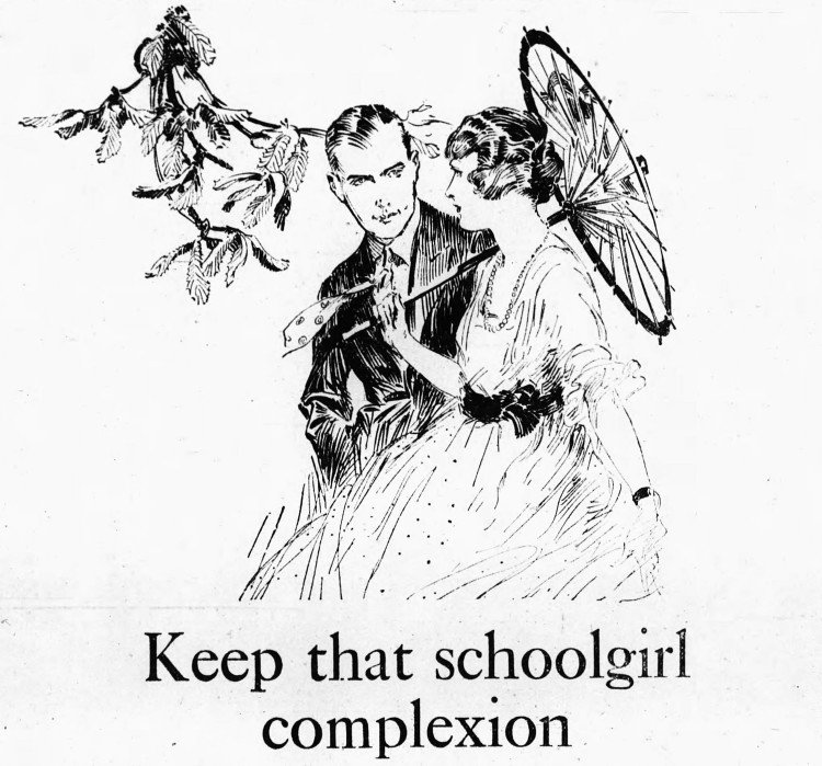 'that schoolgirl complexion' Palmolive - Arkansas Democrat (Little Rock, Arkansas) - 21 February 1921