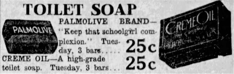 'that schoolgirl complexion' Palmolive - Spokane Daily Chronicle (Spokane, Washington) - 4 October 1920
