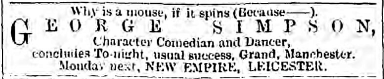 'why is a mouse if it spins' - The Era (London, England) - 16 December 1893