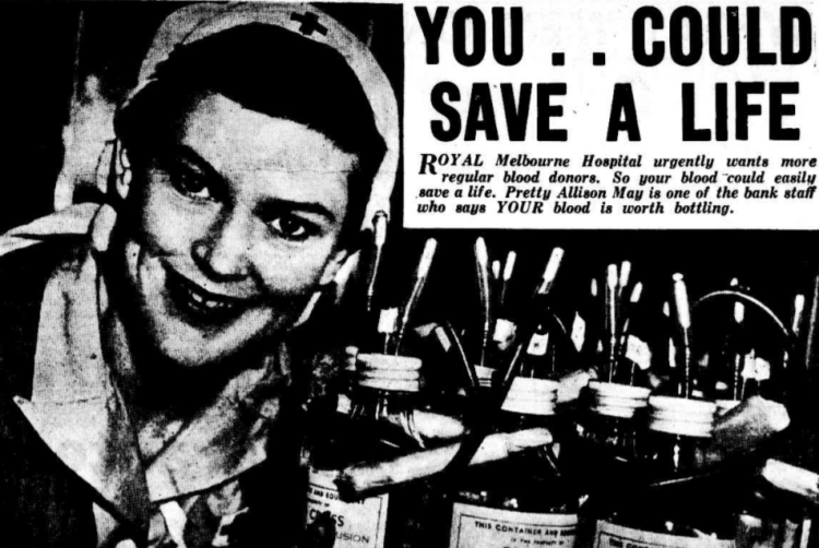 'your blood is worth bottling' - The Argus (Melbourne, Victoria) - 4 August 1955