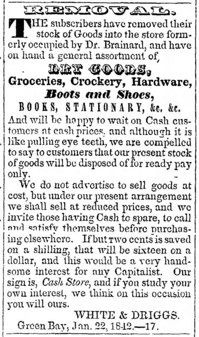 'like pulling eye teeth' - Green Bay Republican (Green Bay, Wisconsin) - 29 January 1842