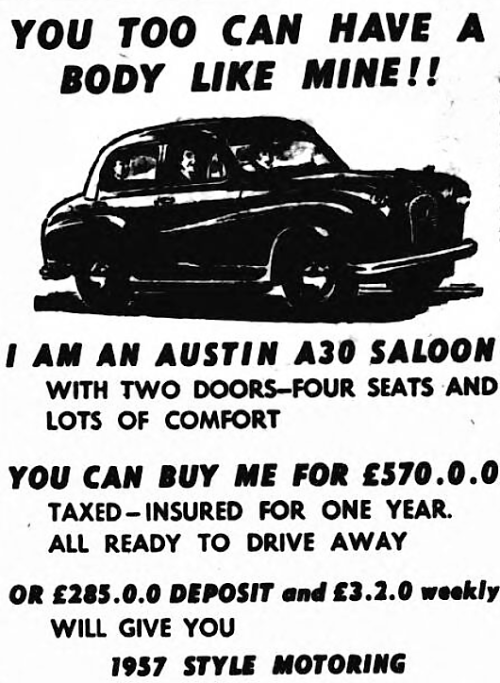 'you too can have a body like mine' - advertisement for Austin - Shepherds Bush Gazette (London, England) - 5 October 1956