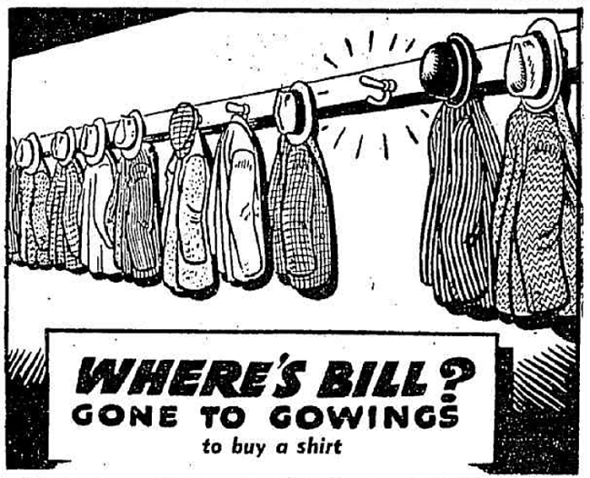 'gone to Gowings' advertisement - The Sun (Sydney, New South Wales) - 13 August 1946