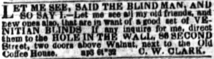 'let me see, said the blind man' - Public Ledger (Philadelphia, Pennsylvania) - 8 April 1851