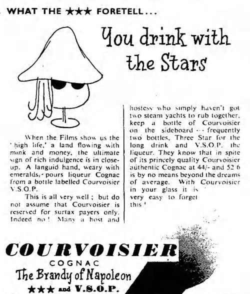 advertisement for Courvoisier - Manchester Guardian (Manchester, Lancashire, England) - 15 October 1956